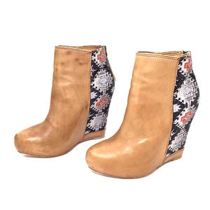 Ella Moss Camel Leather/Tapestry Ankle Wedge Boots